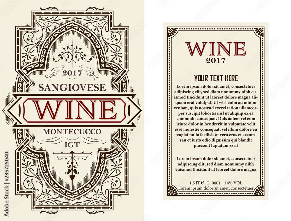 Vintage wine label with floral frame. Vector layered