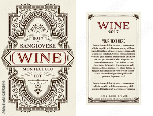 Fototapety, obrazy: Vintage wine label with floral frame. Vector layered