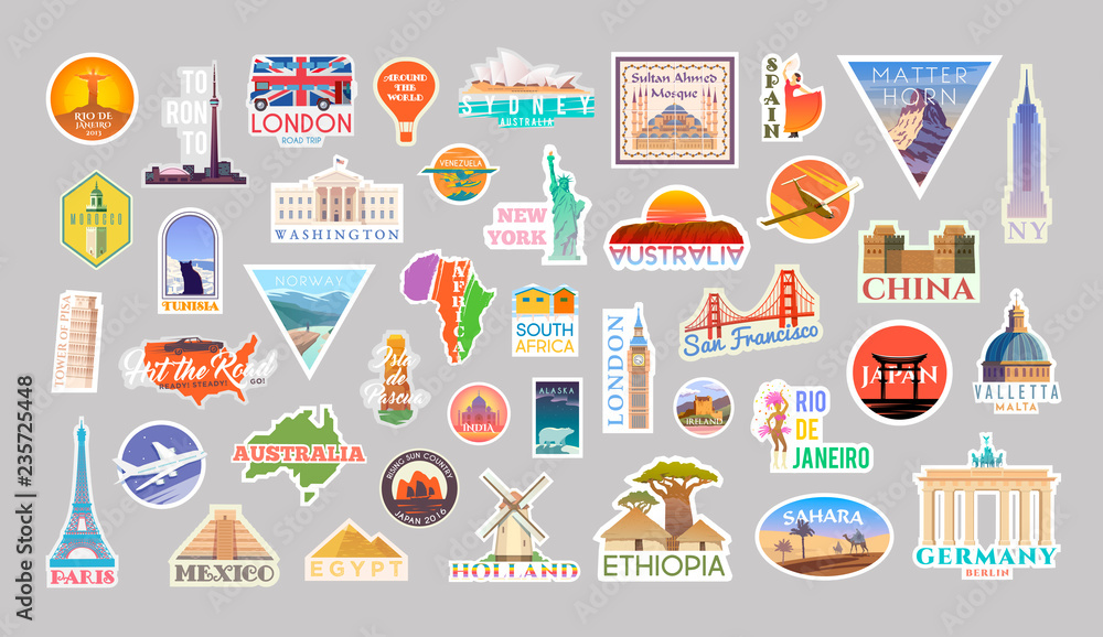 Fototapeta Set of vector travelling stickers colliction. Around the world