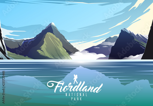 Foto op Aluminium Pool Fiordland national park. Nature of New Zeland. Milford sound.