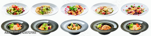 food set in white and black plates menu for restaurant isolated on white