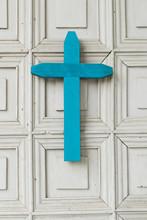 Blue Cross In Church On Chiloe...