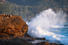 Ocean Wave Breaking Against Rocky Coastline With Forested Hillside In The Distance At Point Lobos Near Carmel, California