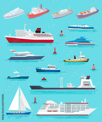 Fotomural Water Transport Different Kinds of Ships Vector
