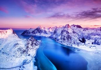 Aerial view at the Lofoten ...