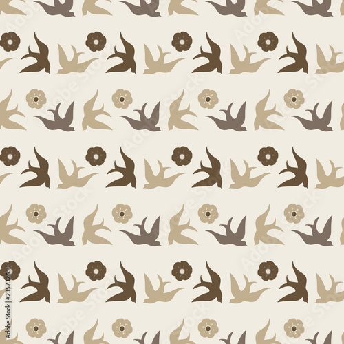 Fotografija  Pretty folk art style birds and flowers in neutral colors make this seamless vector pattern unique