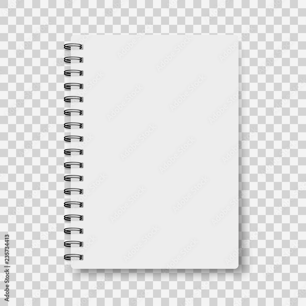 Fototapeta Notebook mockup, with place for your image, text or corporate identity details. Blank mock up with shadow on transparent background. Vector illustration.