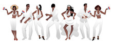Salsa Party Time. Group Of Three Men And Four Women Dancing Latin Music. Two Girls Playing Maracas And Man Playing The Claves. Group Isolated On White Background