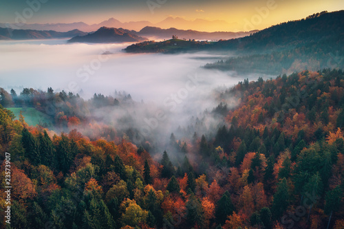 Aerial drone view of Saint Tomas church, Slovenia. Morning mist in the forest.