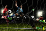 Fototapeta sport - Football player in action on a dark arena