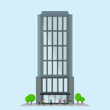 Business Building With Trees. Facade Of Modern Office