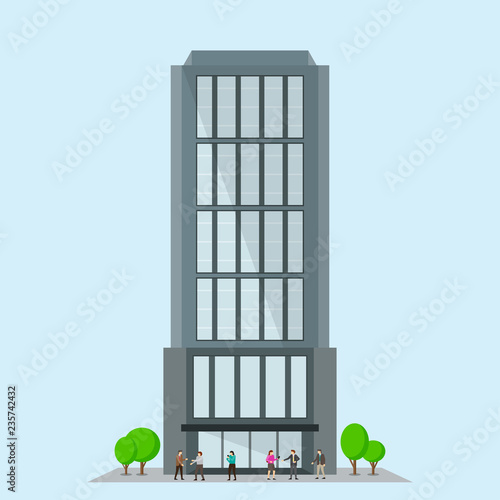 Business building with trees. Facade of modern office Wall mural