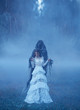 Leinwanddruck Bild - young girl in a white vintage dress and a silver necklace is standing on frozen grass in a thick blue mist in Death captivity and looking down. creative chill color. art photo processing,
