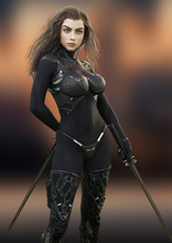 Futuristic Female Warrior Holding Duel Swords Posing Ready For Combat. 3d Rendering