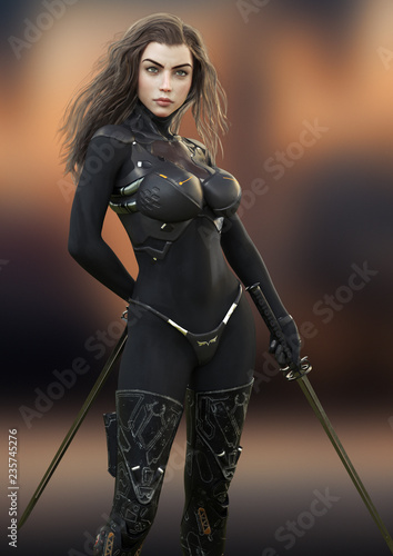 Photographie Futuristic female warrior holding duel swords posing ready for combat