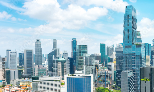 Wall Murals Singapore Aerial panorama of Singapore metropolis
