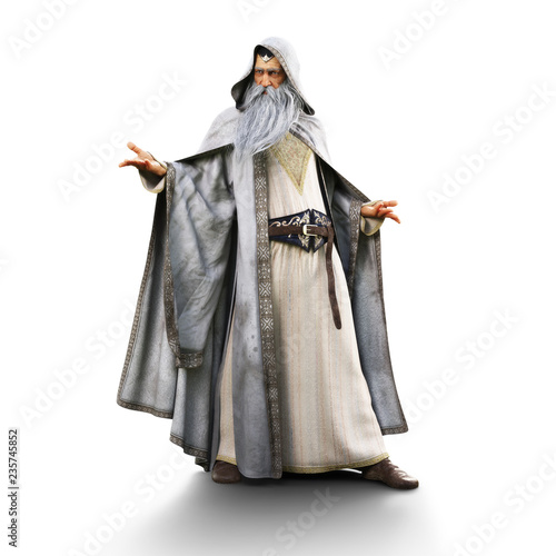 Portrait of a wizard preparing to cast a spell on an isolated white background Canvas Print