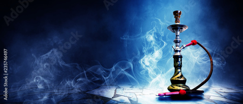 Garden Poster Smoke Hookah on a dark abstract background, smoke, fog, neon, concrete, rays