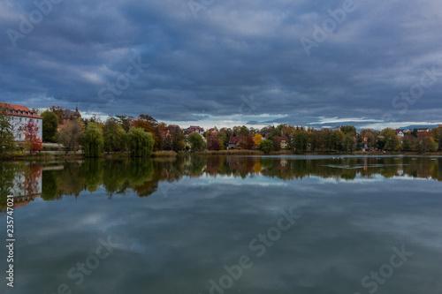 Poster Cracovie Herbstlicher Tag am Burgsee in Bad Salzungen