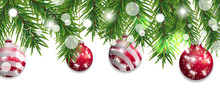 Christmas And Happy New Year Border Of Christmas Tree Branches With Red Balls Isolated On White Background. Holidays Decoration. Vector Illustration.