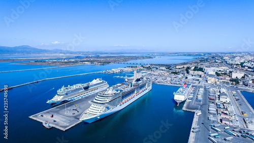 Obraz na plátně Morning view of the Gulf of Cagliari, Italy Sardinia