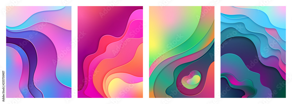 Fototapety, obrazy: Metallic modern gradient active mixed gradient color paper cut art A4 poster. Curved, layered wave shapes background illustration for business presentations, inviting cards, flyers, posters.