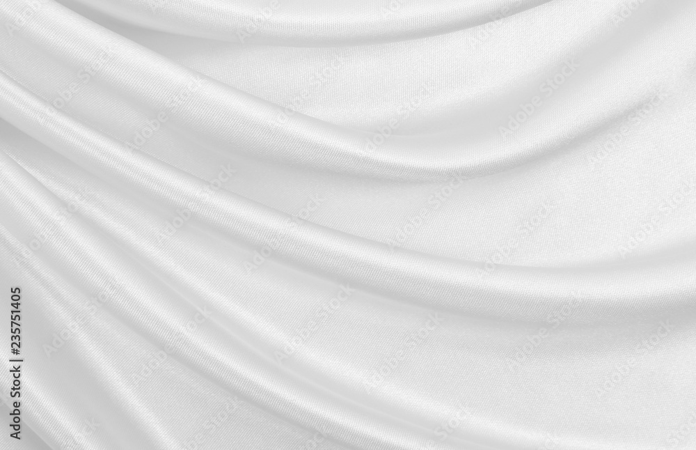 Fototapety, obrazy: Smooth elegant white silk or satin luxury cloth texture as wedding background. Luxurious background design