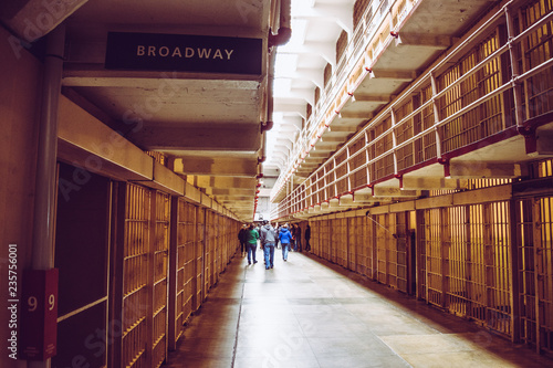 Valokuva  Cells of the Alcatraz Island, formerly a military prison and today a historic pl