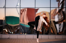 Elegant Ballet Dancer Young Girl Dancing Ballet