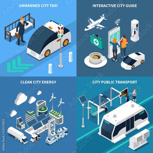 Fényképezés  Smart City Concept Icons Set