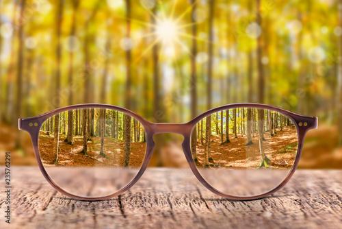 Fotografie, Obraz  Brille gegen Sehschwäche bringt scharfen Durchblick
