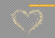 Golden Heart Of Glitter Light Effect. Glowing Sparkling Particles On Transparent Background. Sparkle Stardust. Vector Illustration.