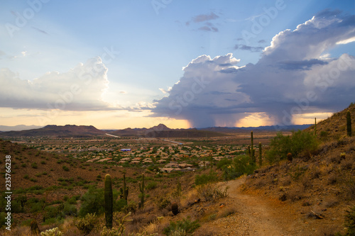 Foto auf AluDibond Durre A monsoon storm over the desert of Arizona during sunset.
