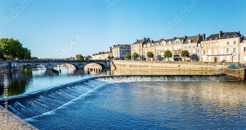 Aluminium Prints Blue Banks of the Mayenne river, City of Laval, Mayenne, Pays de Loire, France