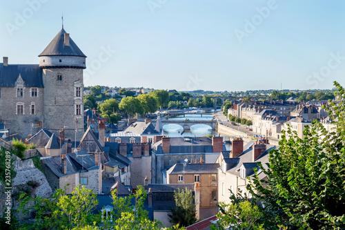Montage in der Fensternische Himmelblau Banks of the Mayenne river, City of Laval, Mayenne, Pays de Loire, France