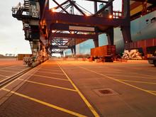 Dock During Sunrise At Port Of Felixstowe, England