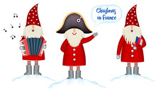 Set Christmas Card Template. Festive Holidays In France Invitation. Cartoon Happy Santa Claus In Napoleon's  Hat Hails, With French Flag And Accordion In Hand  Stands In Snowdrift, Isolated. Vector