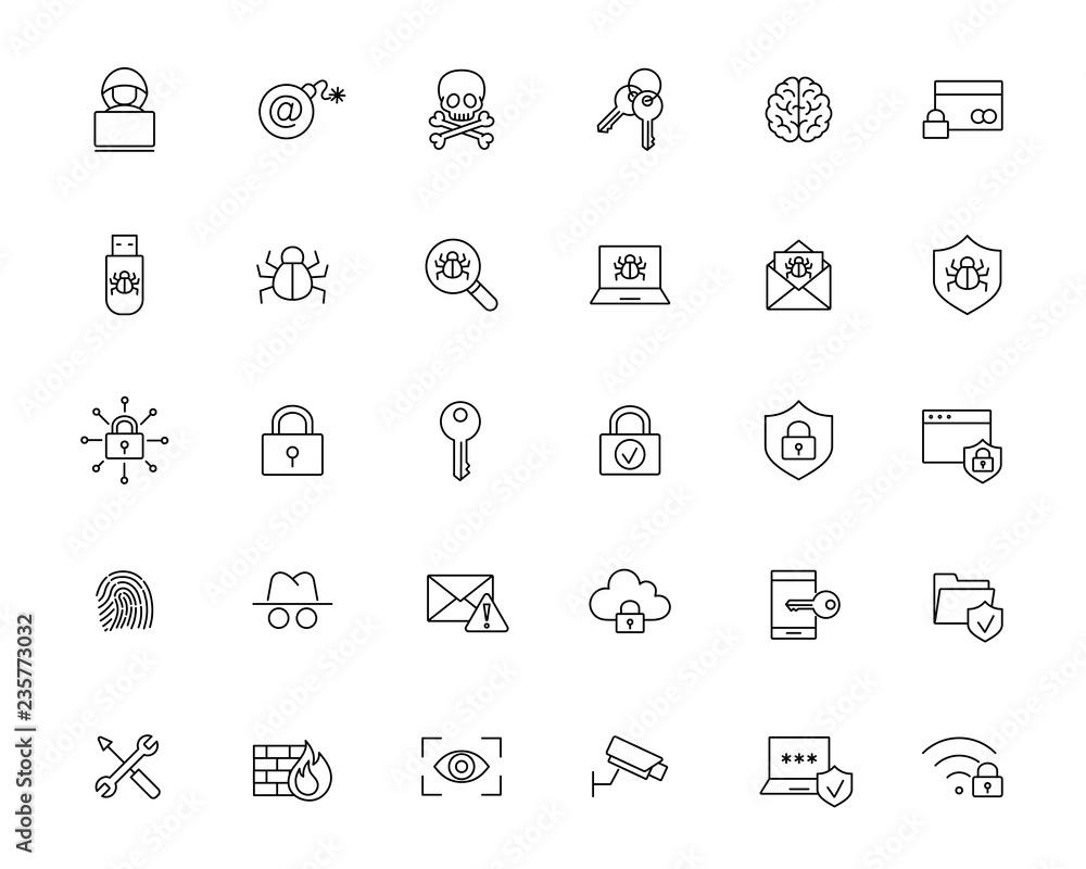 Fototapeta malware cyber attack protection line black icons set on white background