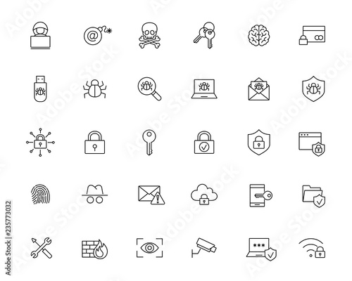 malware cyber attack protection line black icons set on white background Fotobehang