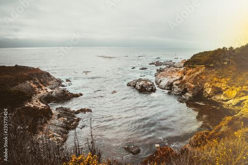 Light effect ocean coast landscape