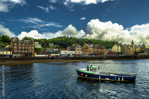 Vivid City Oban With Colorful Houses And Boats In Scotland Wallpaper Mural