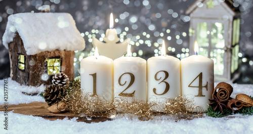 Advent Kerzen Hintergrund Motiv Romantisch Haus