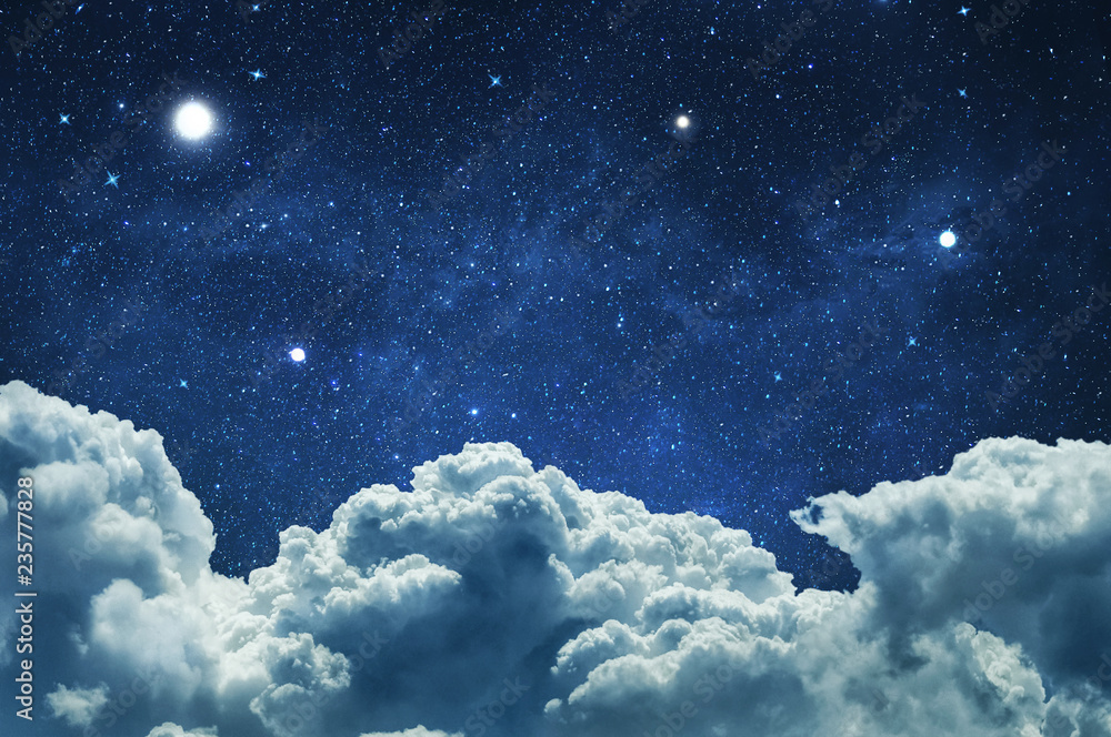 Fototapety, obrazy: Night sky with clouds and stars