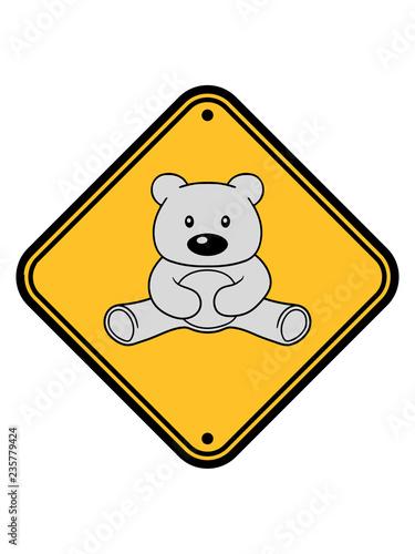 Warnung Achtung Hinweis Zone Gefahr Vorsicht Eisbär Weiß Schild