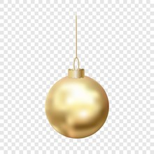 Gold Christmas Ball Icon. Real...