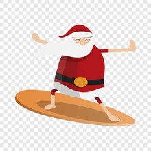 Santa Claus Surfing Icon. Cart...