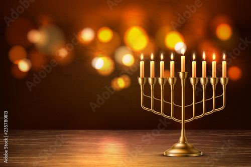 Fotografie, Obraz Vector hanukkah jewish holiday menorah david star