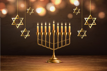 Vector Hanukkah Jewish Holiday Menorah David Star