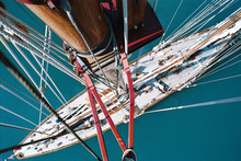 High Angle View Of Mast And Rigging Of A Yacht