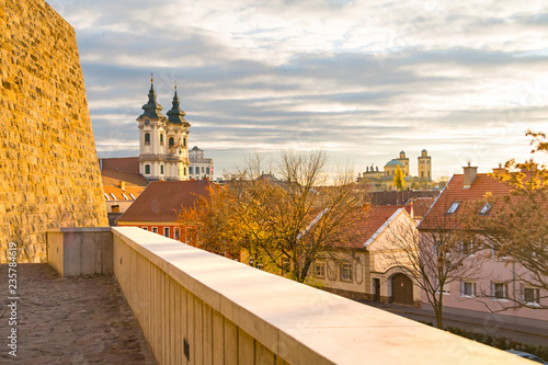 Aluminium Prints Eastern Europe Eger historic city center: sunset view on the Cathedral Basilica of St. John the Apostle and the Minorite Church